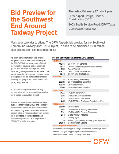 Cmaa North Texas Chapter Dfw Airport Bid Preview Southwest End Around Taxiway Project